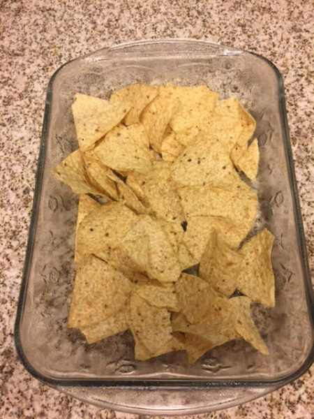 Tortilla Chips in casserole dish