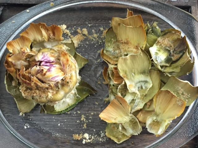 Half eaten artichoke