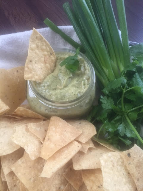 Jalapeño Cilantro Hummus - serve with tortilla chips!